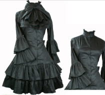 (Replica)Black Bow Ruffles OP Black S -Free Shipping