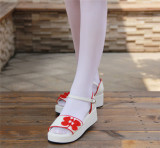 Angelic Imprint- Sweet Double Bows Embroidery Qi Lolita High Platform Shoes