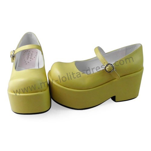 Matte Yellow Single Belt Girls Princess Shoes Pink Glossy Size 42(8cm heel 5cm platform) - In Stock