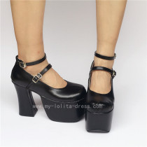 High Platform Black Double Straps Lolita Shoes