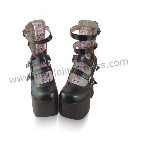 Black Four Straps High Heels Lolita Shoes