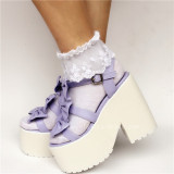 Purple Matte Bows Lolita Sandals