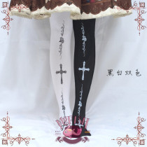 Mu-fish Rose Cross Lolita Above Knee Socks