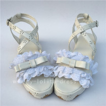 Sweet White Matte Lace  Lolita Flat Shoes