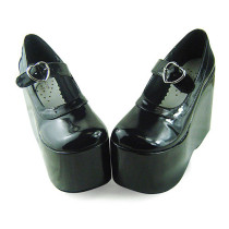 Glitter Black High Platform Lolita Shoes