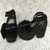 Black Velvet High Platform Lolita Shoes