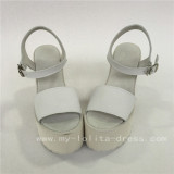 Sweet White Cowhide Square Heels Lolita Sandals