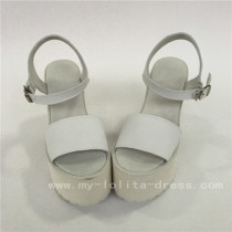 Sweet White Cowhide Square Heels Lolita Sandals