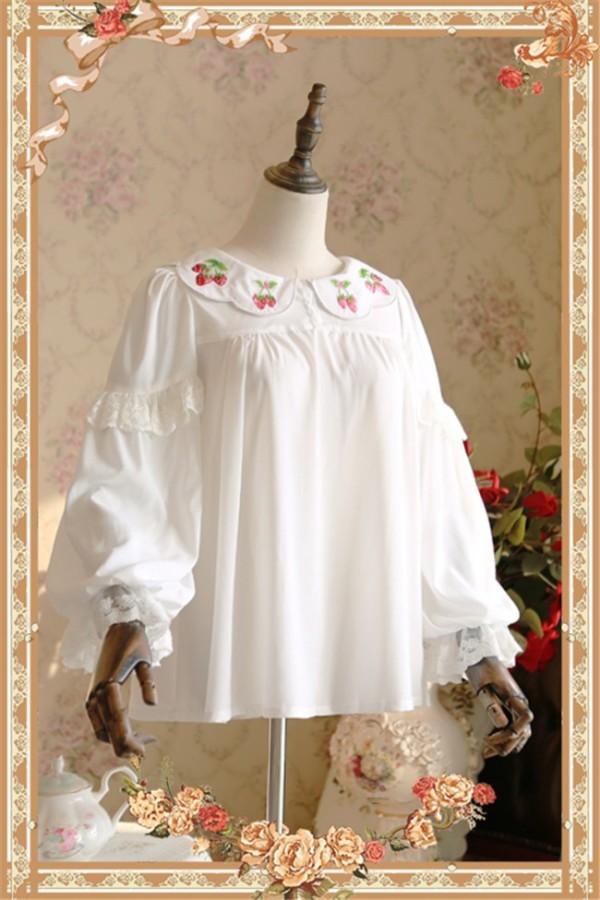 Strawberry Embroider-  Sweet Chiffon Lolita Long Sleeves Blouse