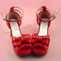 Glossy Red Ruffles Trim Pretty Girls Summer Shoes