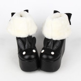 Angelic Imprint- Gothic Winter Velvet Lolita Short Boots - 2 Ways