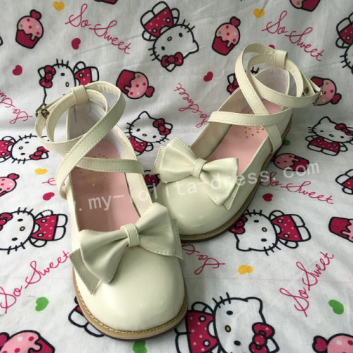 Girl's Sweet White Lolita Low Heels Shoes