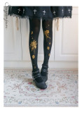 Gold-Stamping Bouquet~120D Printed Lolita tights