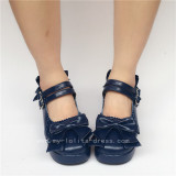 Sweet Double Straps Bows Lolita Shoes