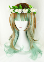 Light Brown Green Shoulder Long Curls Lolita Wig
