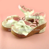 White Side Bow Floral Prints Sweet Girls Sandals