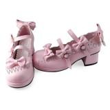 Pink Four Bows Lolita Shoes
