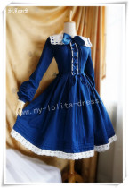 Sailor Collar Long Sleeves OP Dark Blue M - IN STOCK