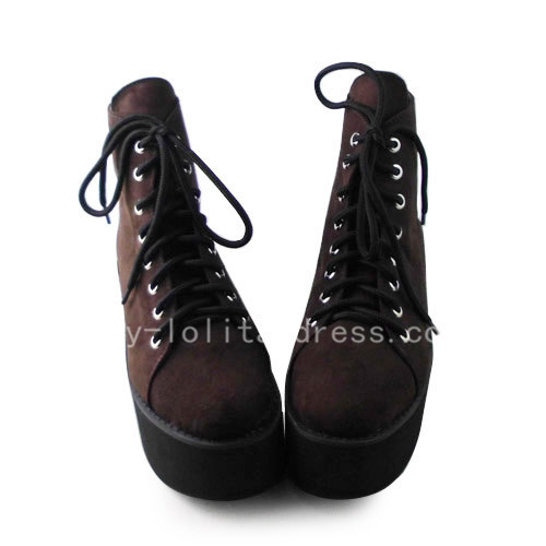 Brown Classic Wedges Lolita Girls Shoes