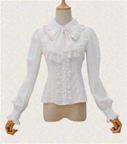Vintage Peter Pan Collar Blouse Apricot M& Black XL Thin -IN STOCK