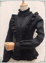 Vintage Thickening Thermal Stand Collar Lolita Blouse Black M In Stock