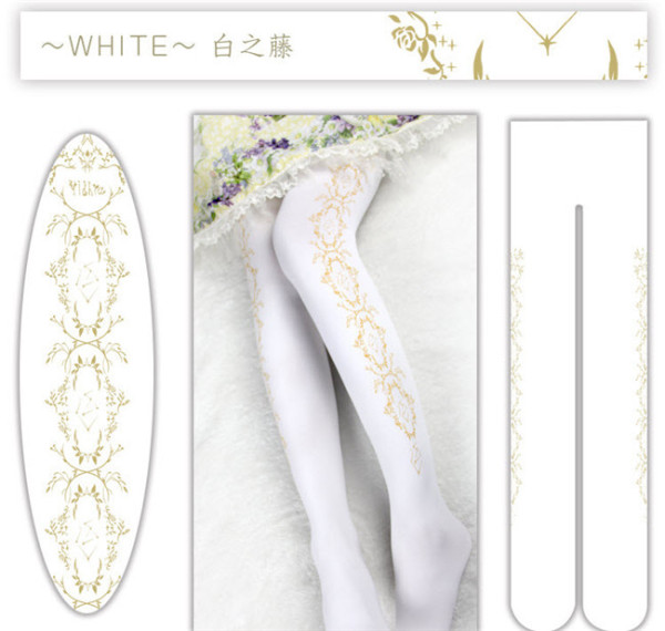Star Vines~ 120D Velvet Lolita Tights White - In Stock