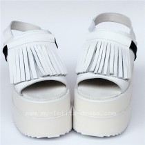 Sweet White Real Leather Tassels Lolita Sandals