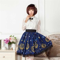 Sweet Dark Blue Stars & Moons Printed Lolita Pleated Skirt
