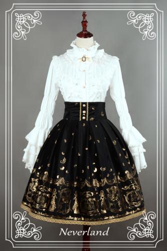 Neverland Lolita ~Golden Swan Lake~ Gold Stamping High Waist Lolita Skirt