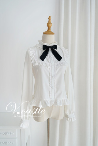 Sweet Roll Collar Lolita Blouse -Ready Made Black Size S - In Stock