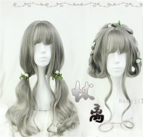Vintage Gray Long Curls Lolita Wig - In Stock