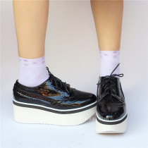 Black Glossy Double Color Soles Lolita Shoes