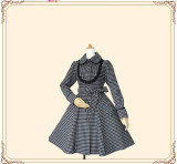 Vintage Houndstooth Slim Lolita Long Coat