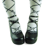 Black Crossed Straps Lolita Shoes
