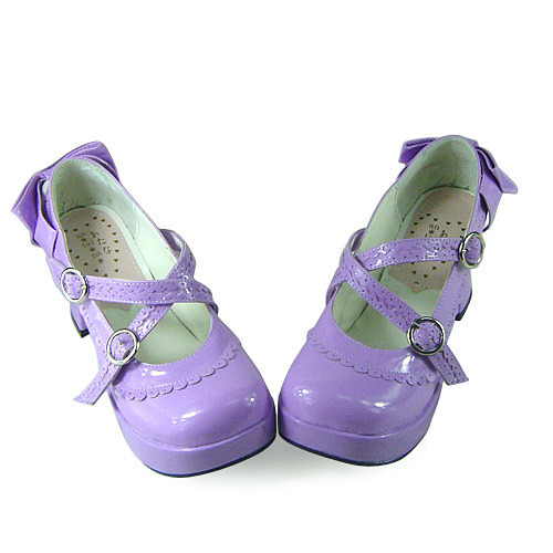 Purple Floral Trim Unicolor Lolita Shoes