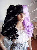 2 Colors Black Purple Curly Wig