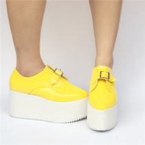 Cream Yellow Glossy Lolita High Platform Shoes