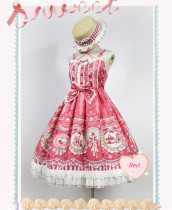 Strawberry Bunny~ Lolita Printed High Waist JSK Dress