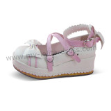 White Lolita Shoes Pink Trim