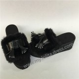Matte Black Lolita Sandals with Black Imitative Bunny Fur