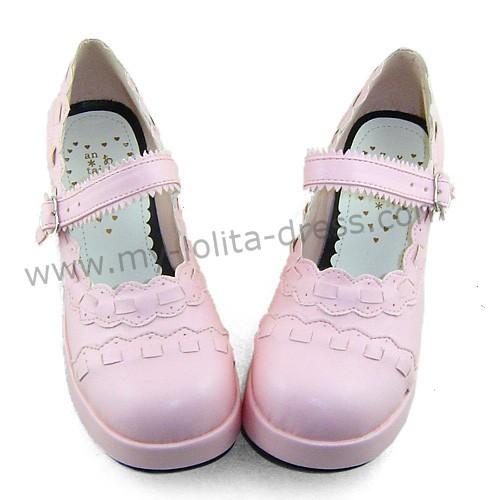 Pink Unicolor Lolita Shoes