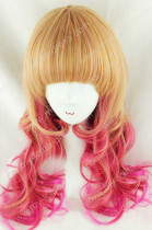 Brown Pink Blended Curls Lolita Wig