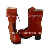 Wine Square Heel Middle Shaft Boots
