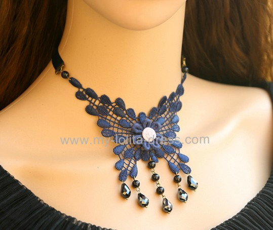 Gothic Dark Blue Color Butterfly Shape Lolita Choker Fake Collar-out