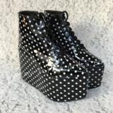 Glossy Black White Dots Lolita High Platform
