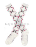 White Knee High Lolita Flower Printed Socks