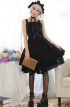 (Replica)Black Lace Bows Lolita Jumper In Stock