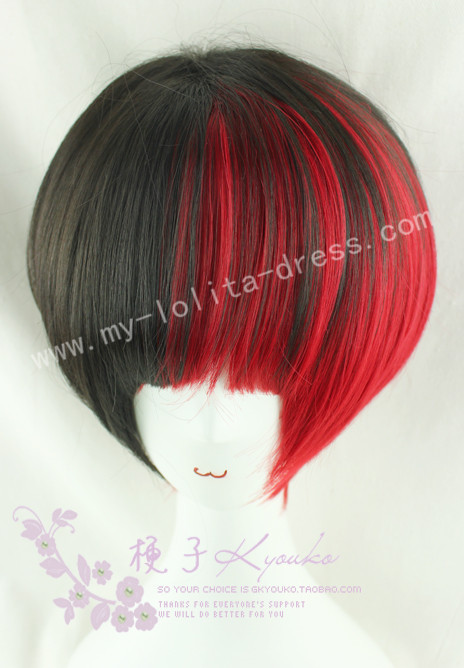 35cm Black Red Face Framing Lolita Wig