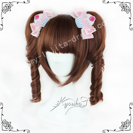 Red Brown Face Framing Lolita Wig 2 Ponytails