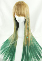 Light Brown Green Straight Lolita Wig